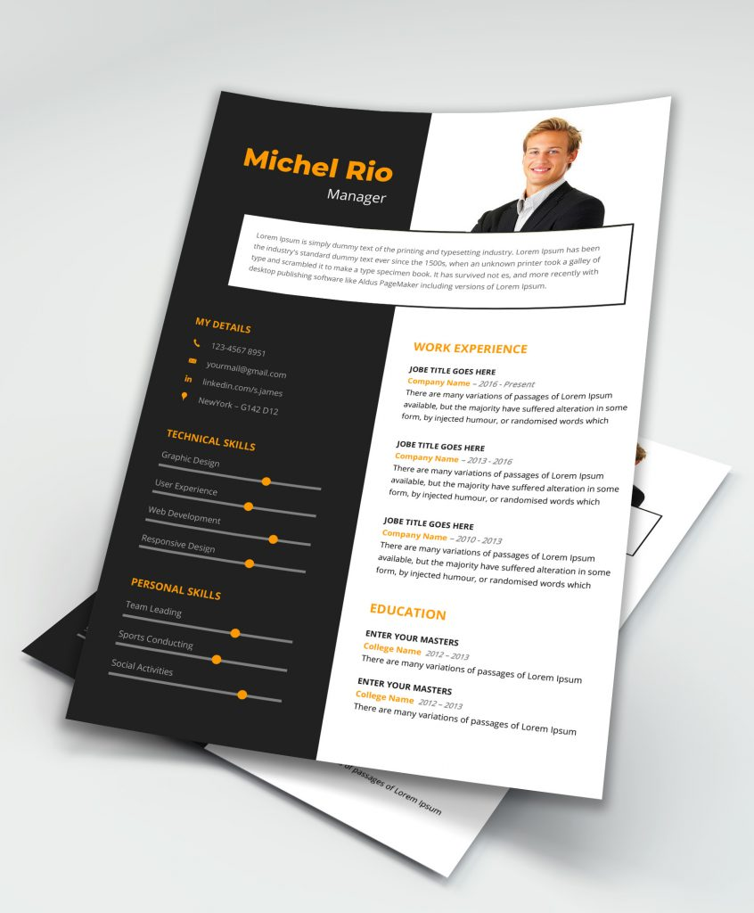 Free  Premium Perfect Ms Word Resume Template