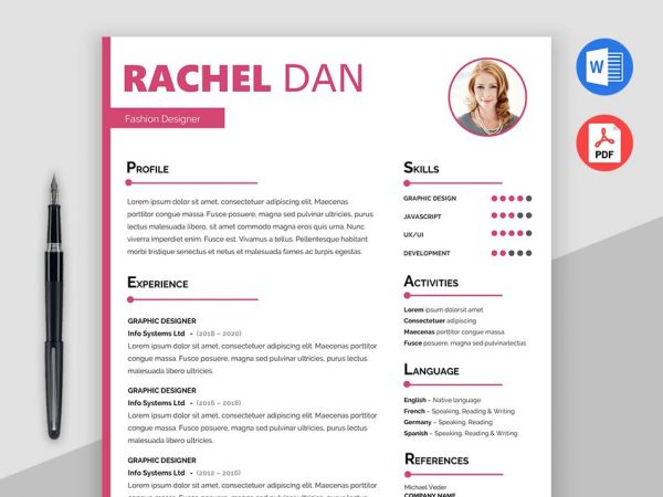 trendy resume templates in different formats doc pdf and psd