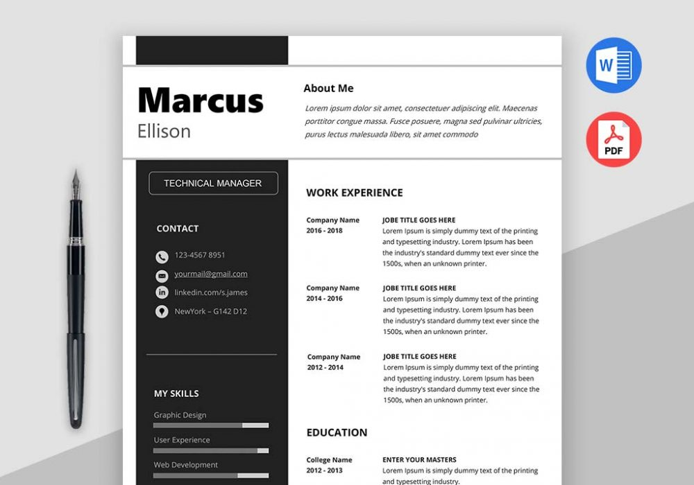Modern resume template word download maxresumes for Modern resume template free download