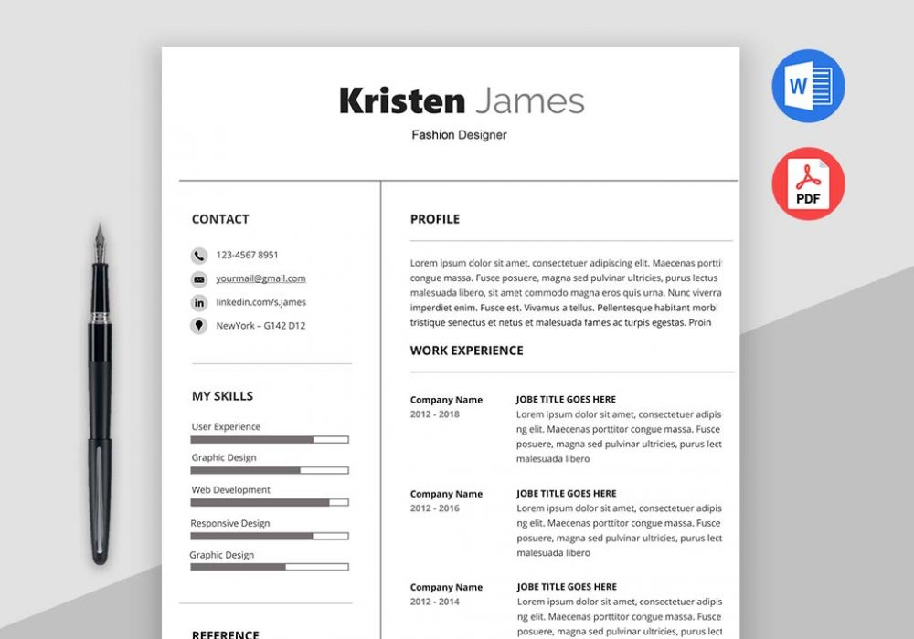 Simple Resume Template Race Professional