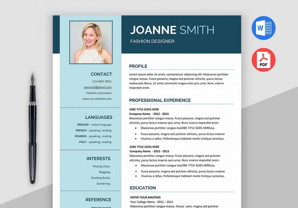 Modern Resume Template MS Word