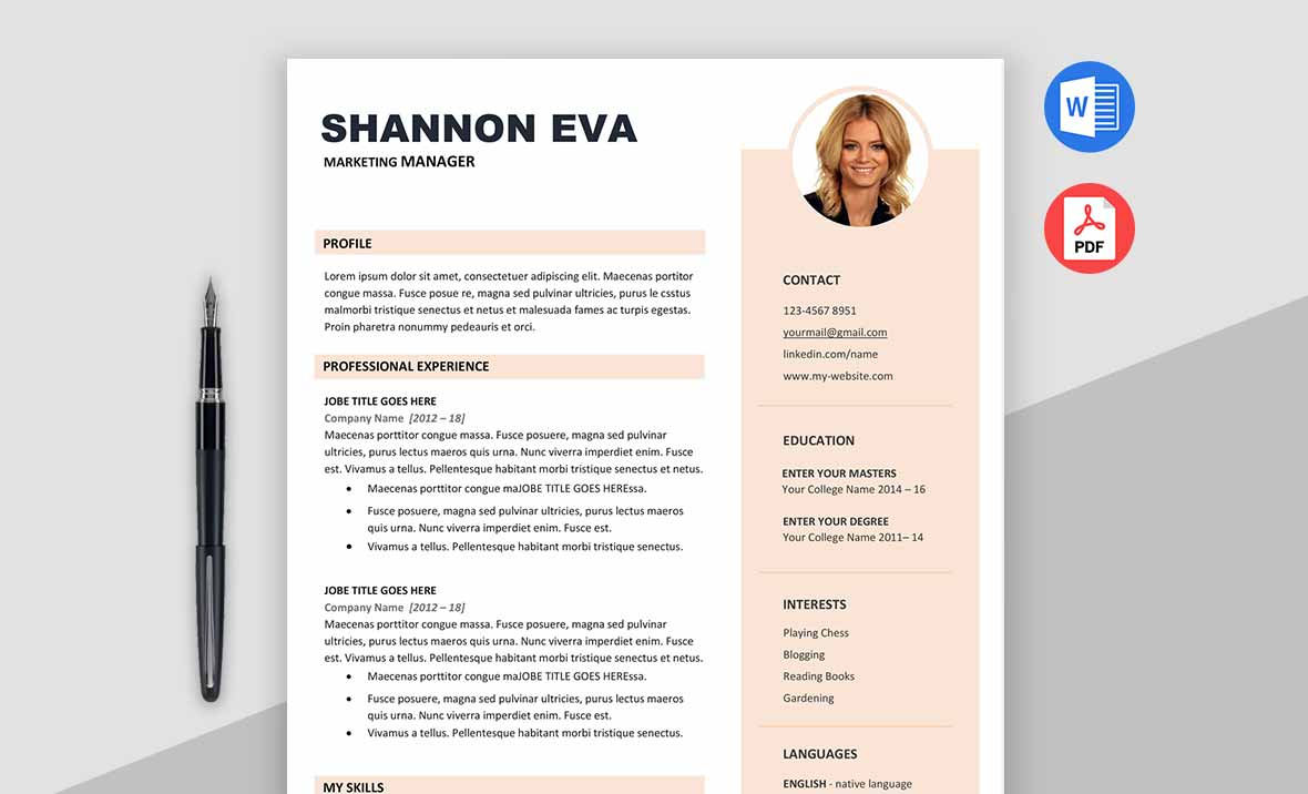 Shine Free Creative Resume Template Microsoft Word