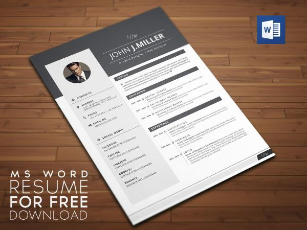 Free MS Word Resume To Download