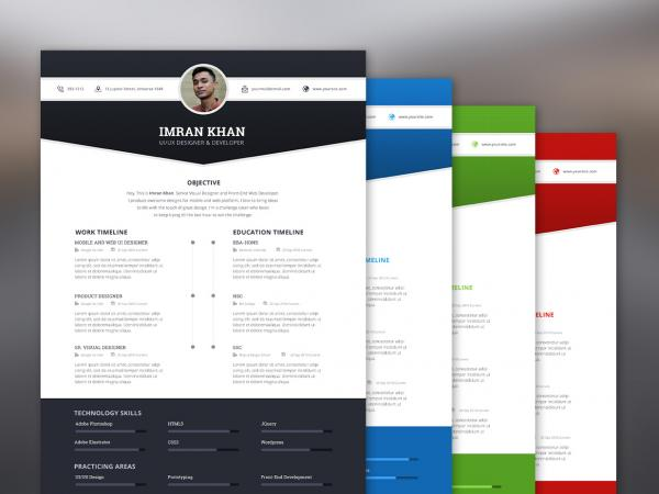 Modern Free Resume Template PSD 2019
