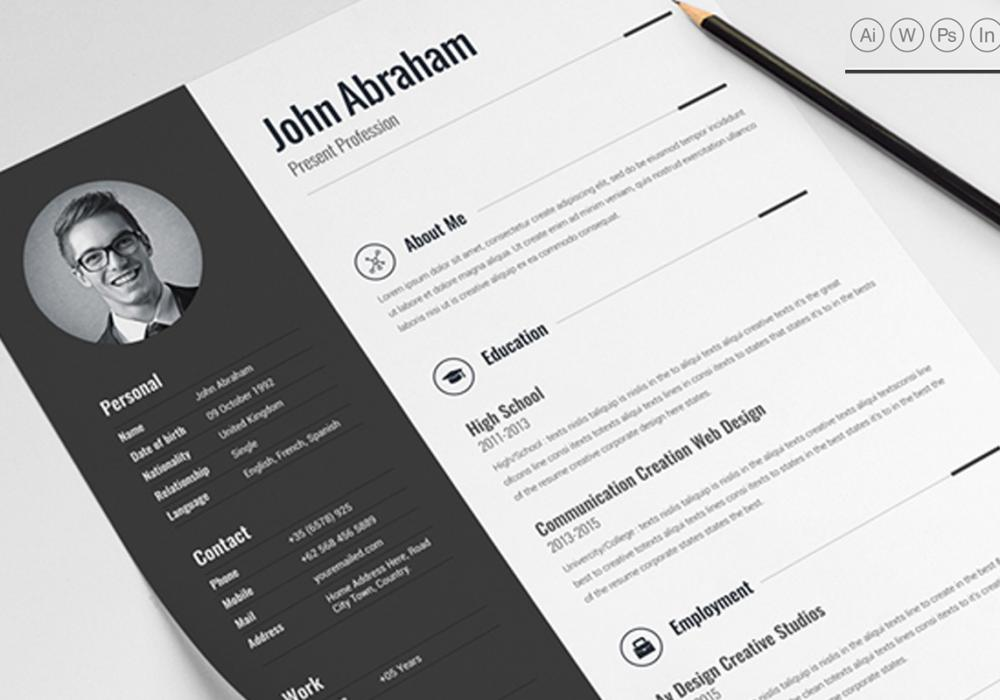 Best Professional Clean Resume Template MS Word PSD IN