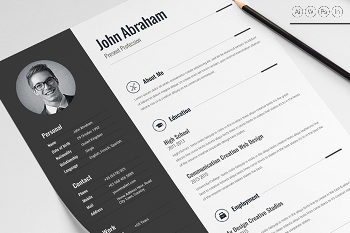 Best Professional Clean Resume Template [MS Word, PSD, IN]