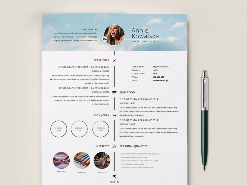 Timeline Minimalistic Resume Template Free Download