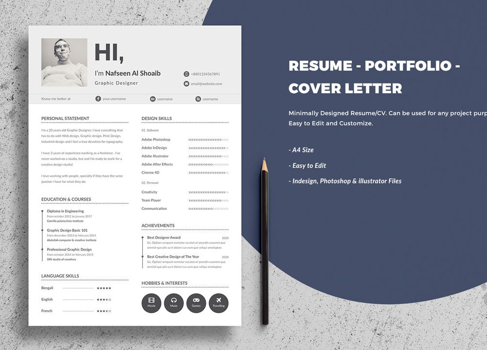 portfolio resume template free download