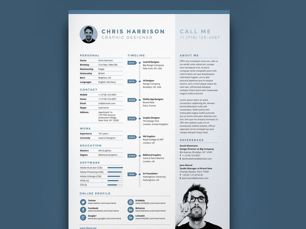 best creative timeline resume template  2020