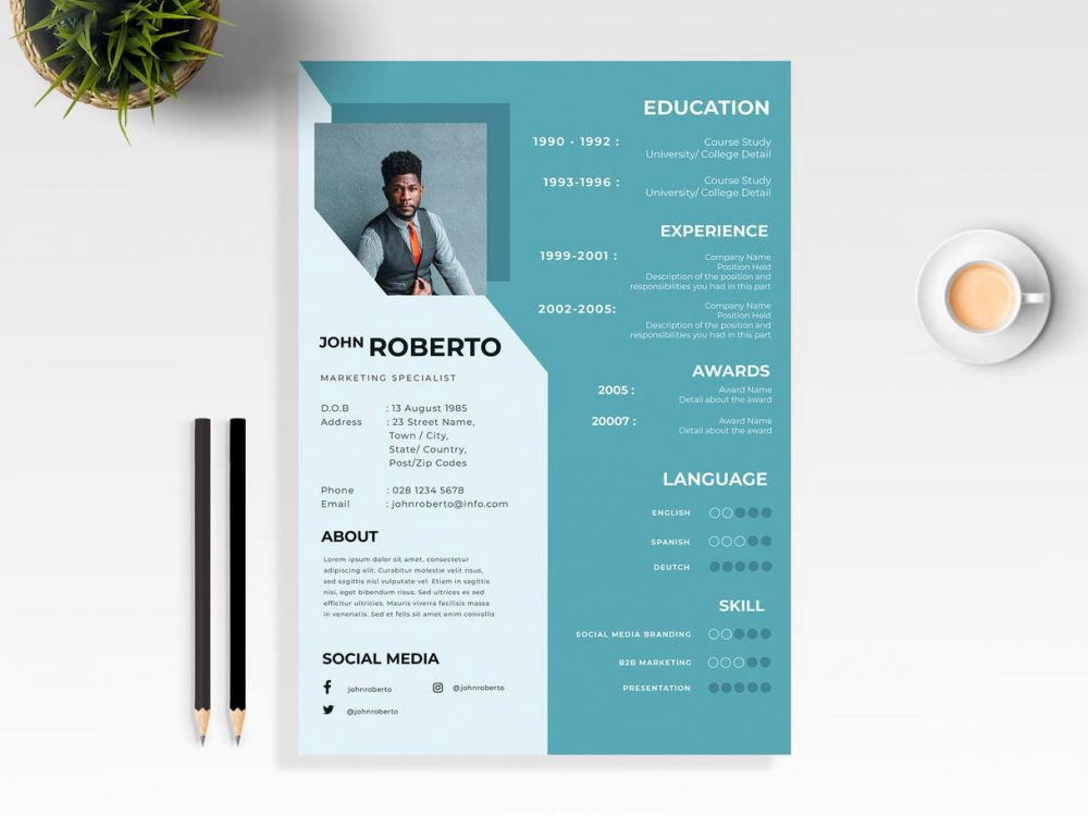 modern word resume template free download