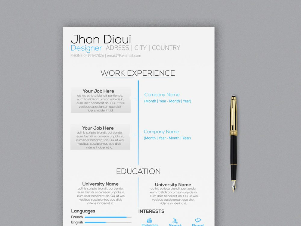 Modern Photoshop Resume Template Free