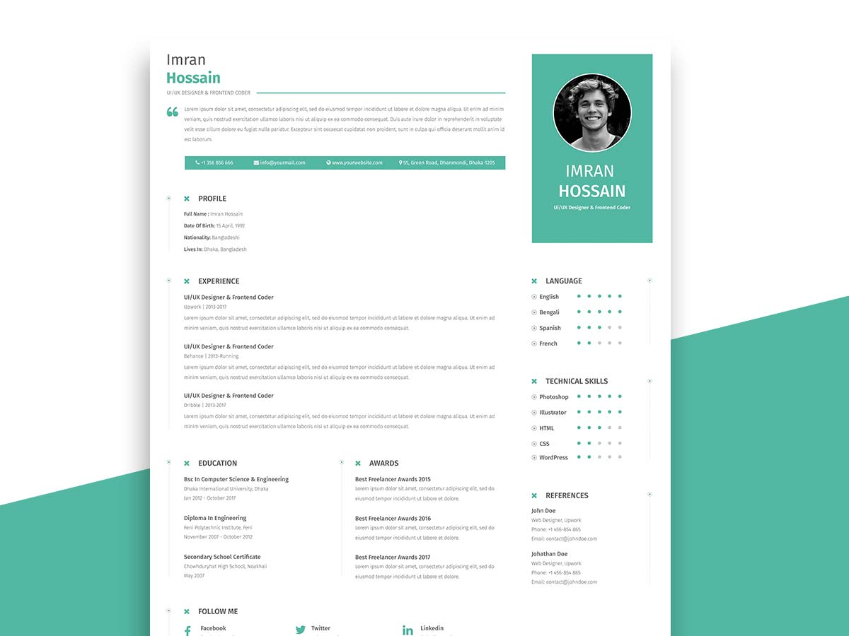 Free Professional Resume Template for Business