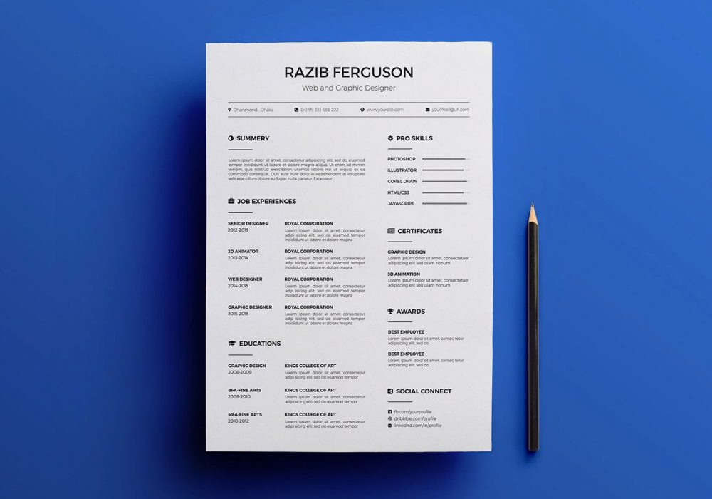 Free Simple Resume Template Multi Format 2020 Maxresumes