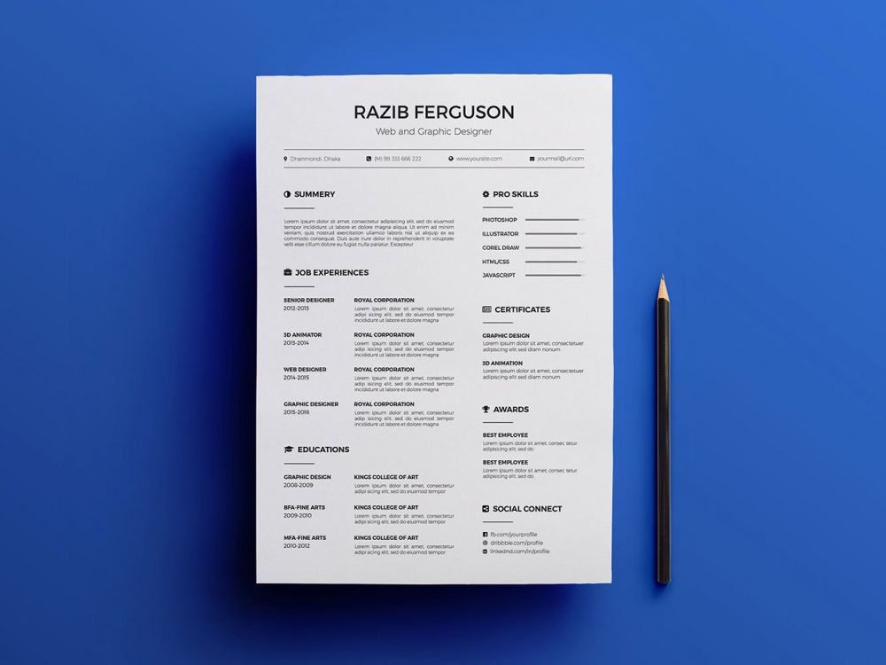 Free Simple Resume Template Multi Format