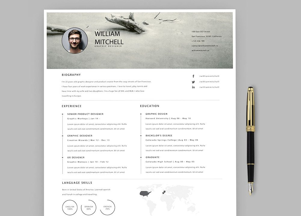 adobe illustrator resume template free download  2020