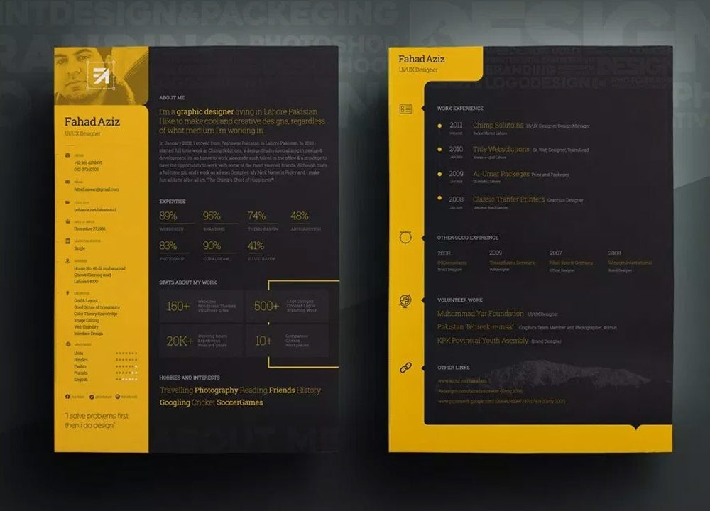 attractive resume template free download  2020