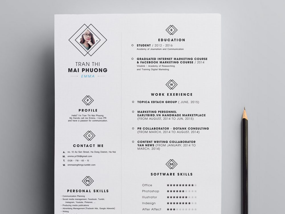 Best Clean Resume Template PSD