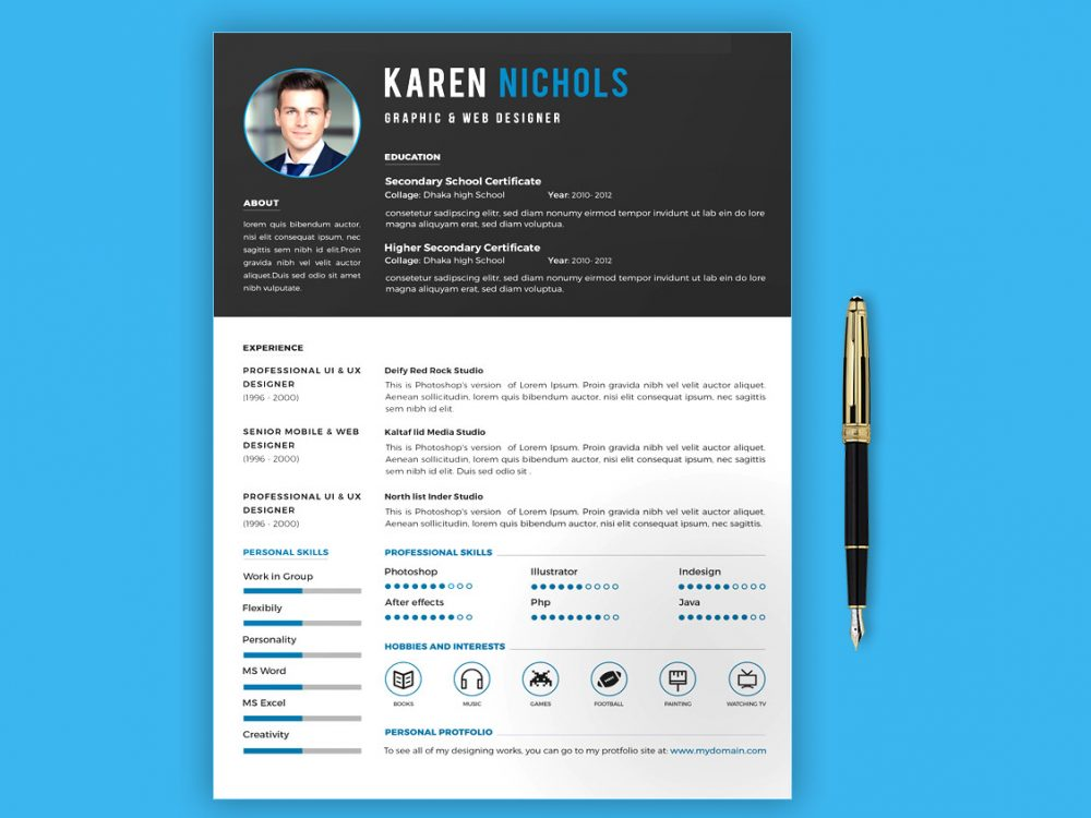 Creative Simple Resume Template Word & PSD