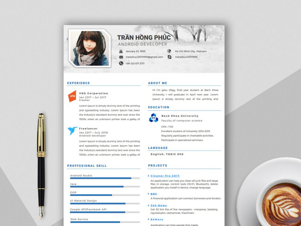 Creative Word Format Free Resume Template