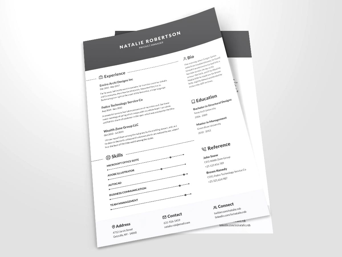 Free Clean CV Template Word Format Download