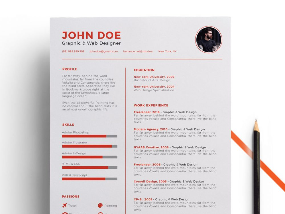 free clean resume template ai format  2020