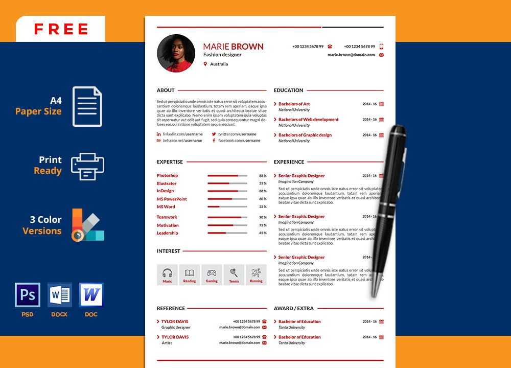 portfolio resume template in word  u0026 psd  2020