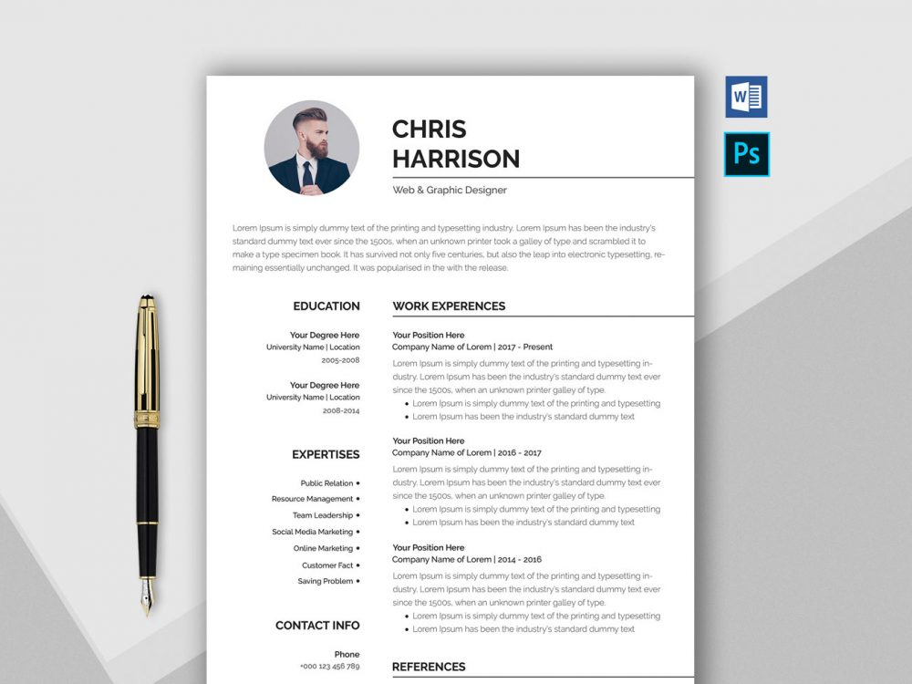 professional resume template word  u0026 psd format  2020