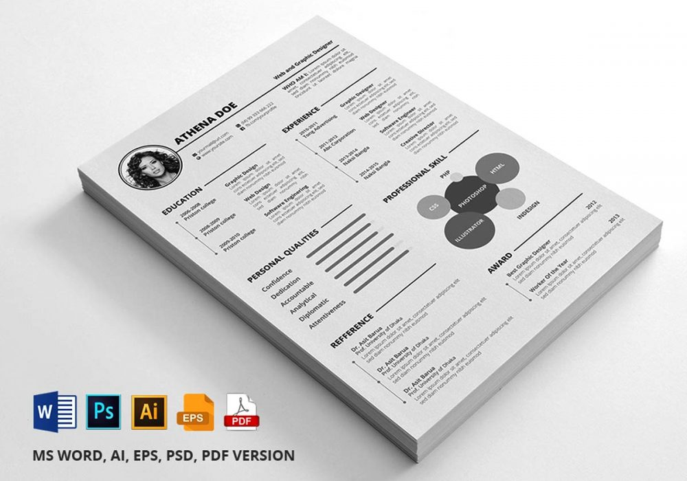 Free Resume Template With Multi File Format Download 2020