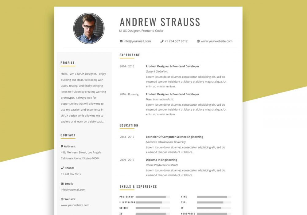 free simple resume template photoshop format