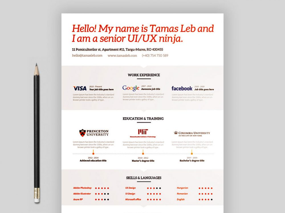 Free Visual Resume Template Multi File Format