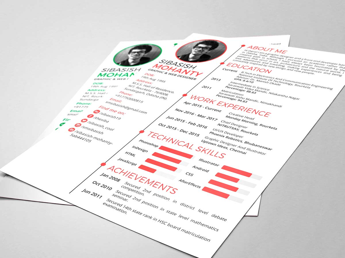 photoshop resume template free file