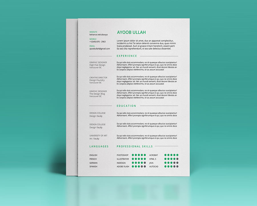 Simple Illustrator Free Resume Template