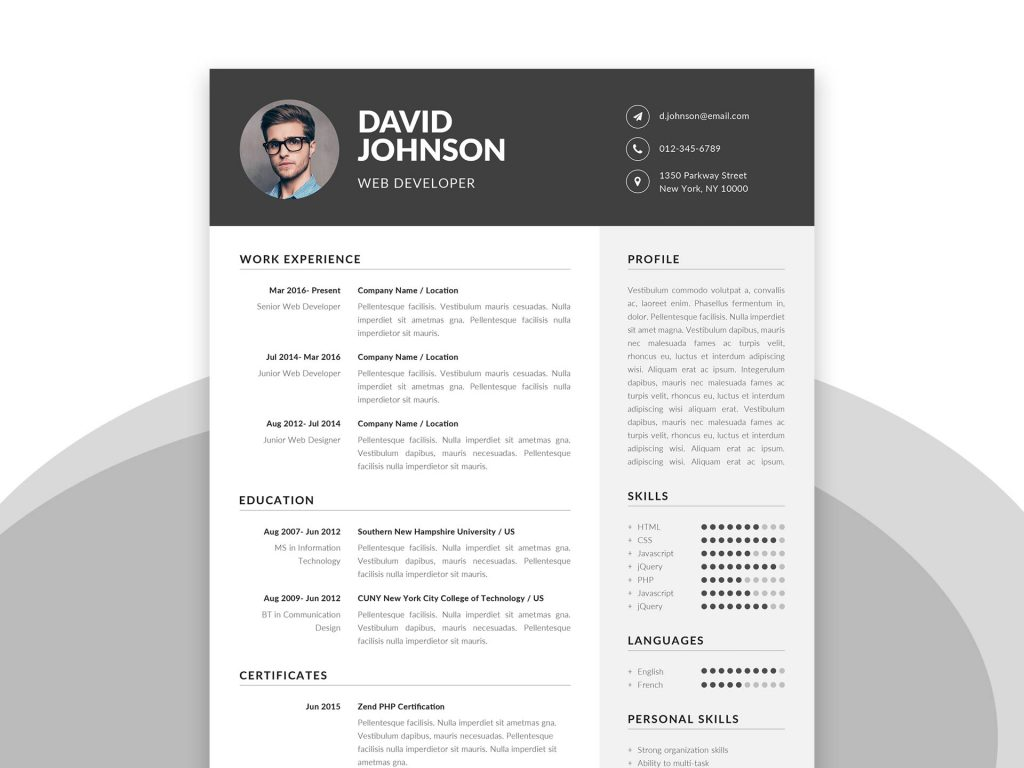 Simple Resume Template in Word & PSD Format