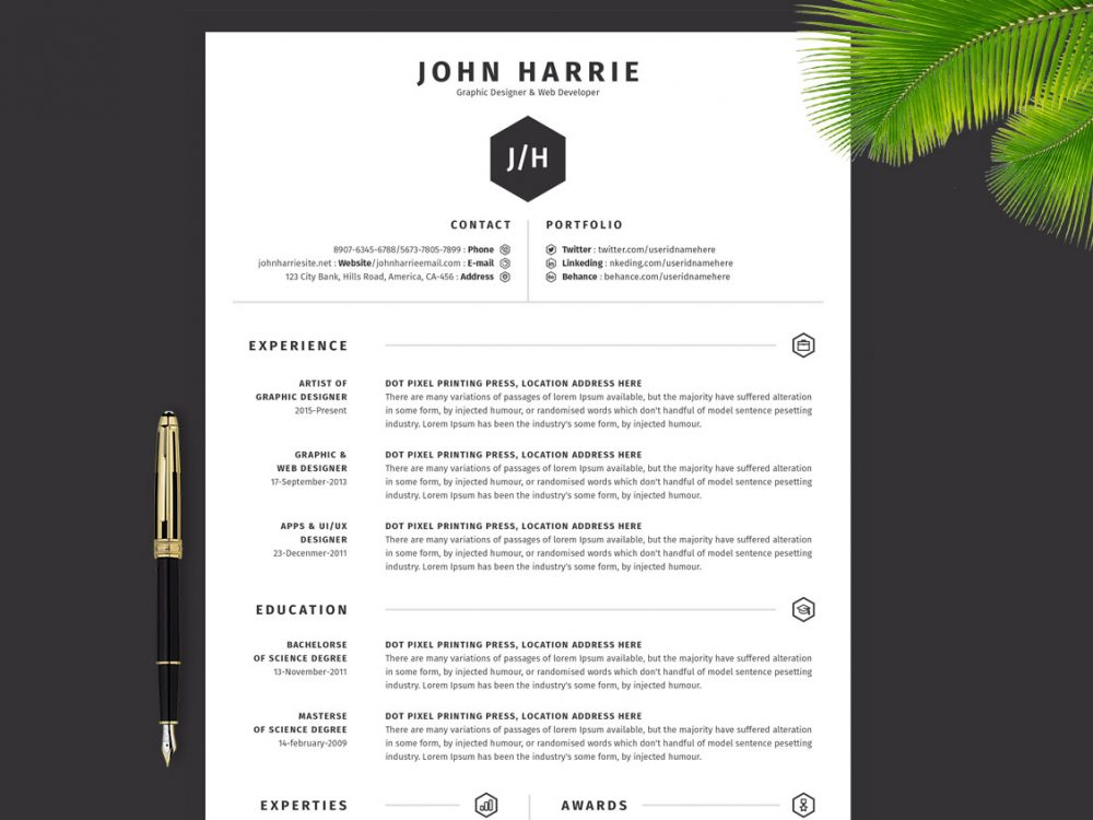 Simple Resume Template Multi File Formats