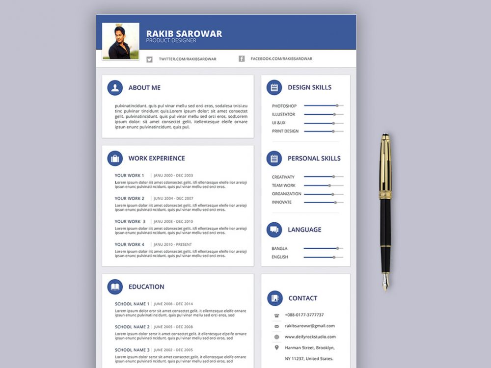 stylish resume template free download  2020