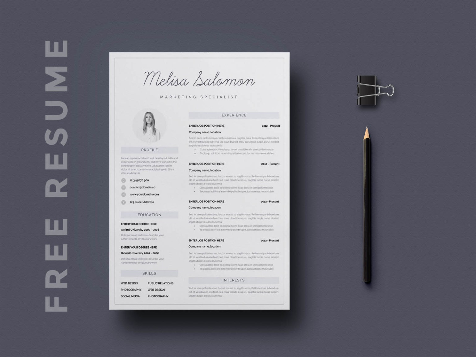 Free Clean Resume Template in Word Format