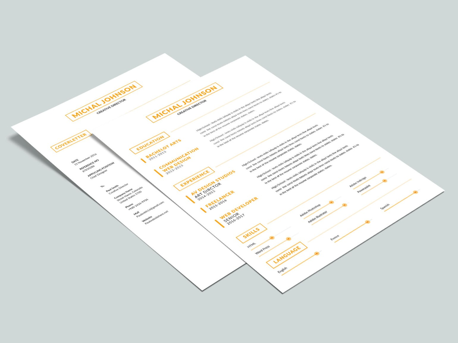 Free Two Pages Resume Template Download