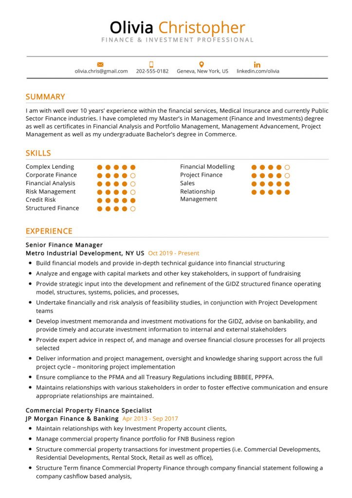 finance-investment-resume-sample