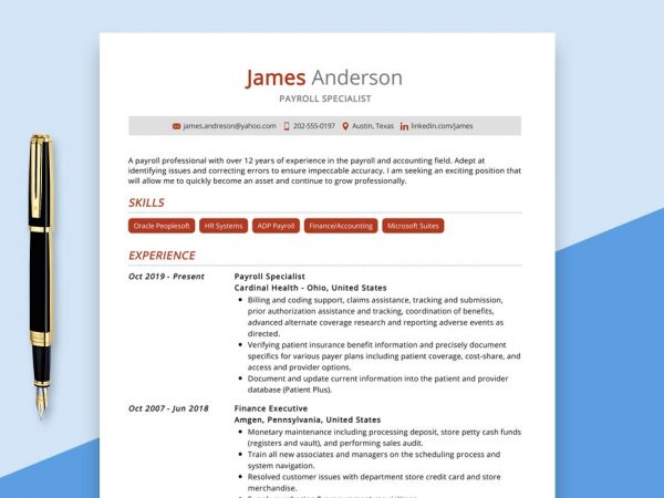 Payroll Specialist Resume Sample