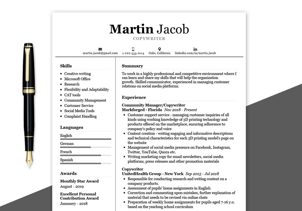 Copywriter Resume Sample Free PDF