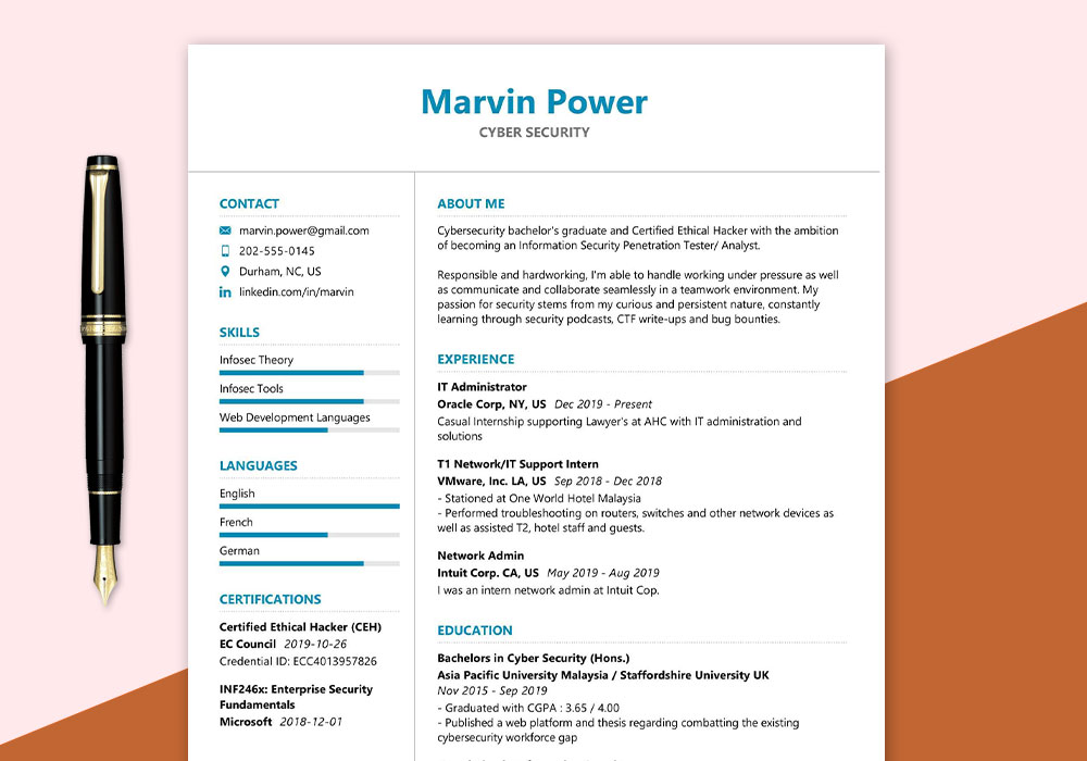 Cyber Security Resume Sample