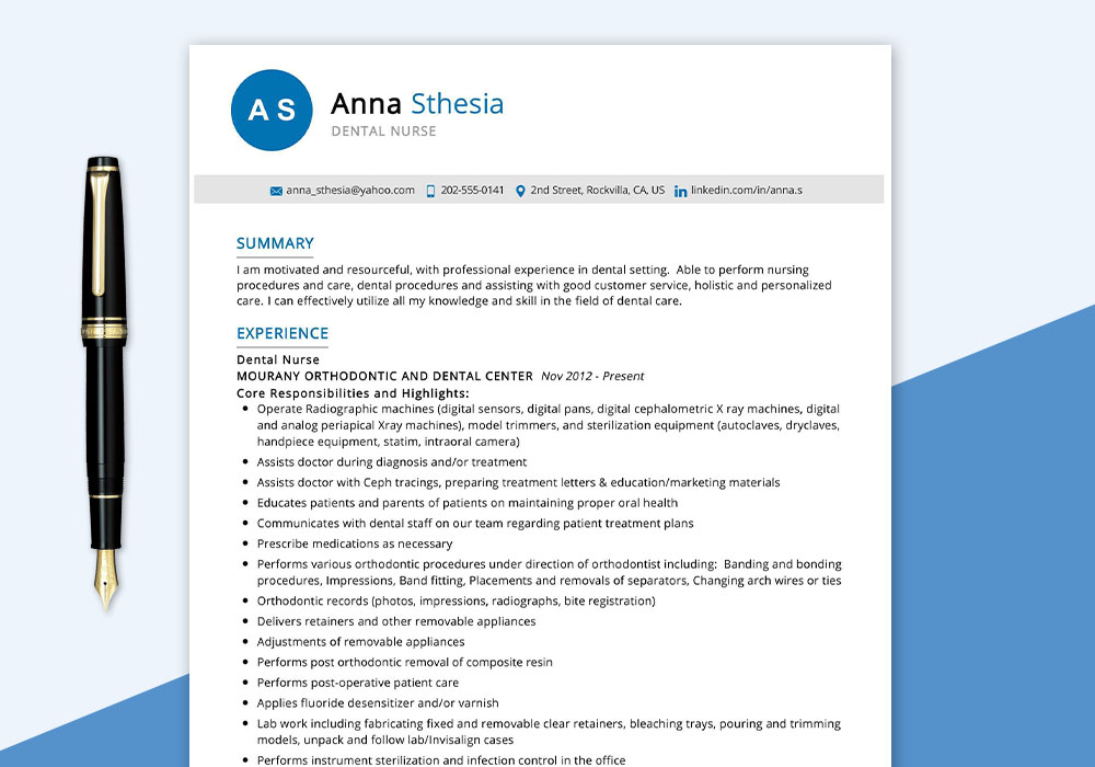 Dental Nurse Resume Sample PDF