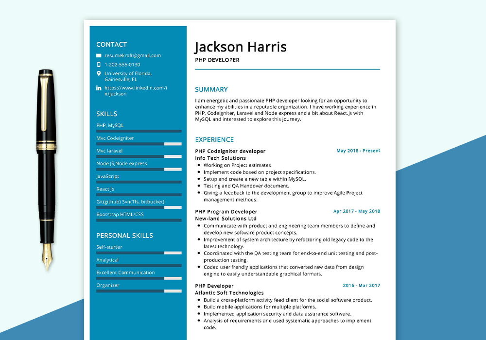 PHP Developer Resume Sample