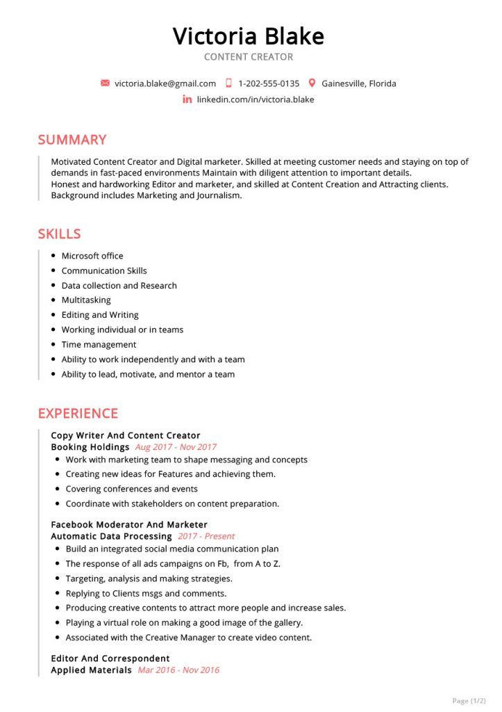 content-creator-resume-sample