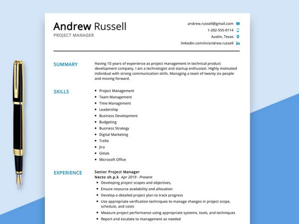 project-manager-resume-sample