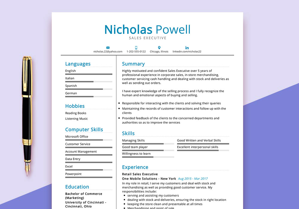 sales-executive-resume-sample